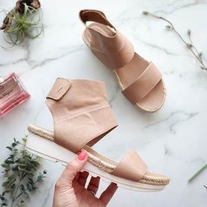 Eileen Fisher nude leather sandal wedge ankle cuff